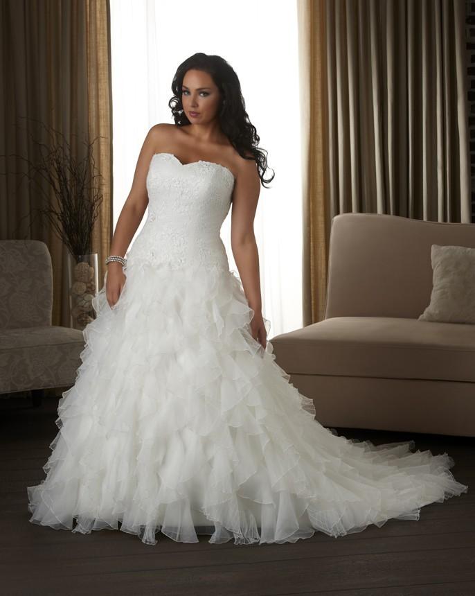Sweetheart Chapel Train Organza A Line Plus Size Wedding Dress
